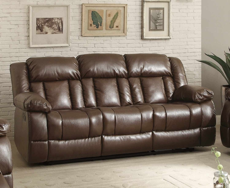 Laurelton Double Reclining Sofa - Dark Brown