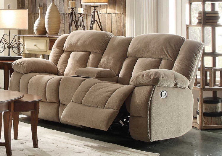 Laurelton Double Glider Reclining Love Seat with Center Console - Taupe Fabric