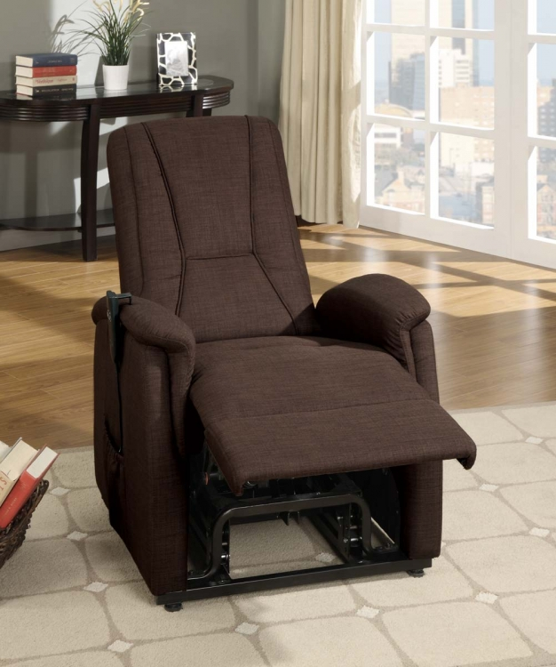 Glenson Power Lift Chair - Dark Brown - Linen - Homelegance