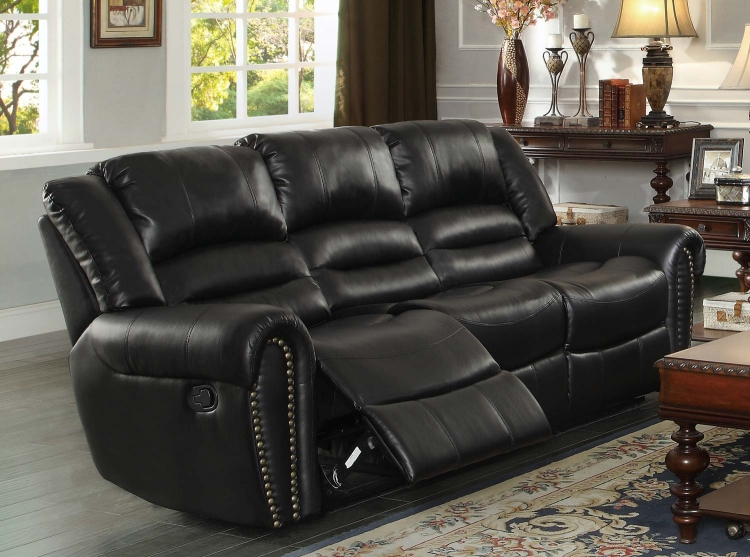 Center Hill Double Reclining Sofa - Black Bonded Leather Match
