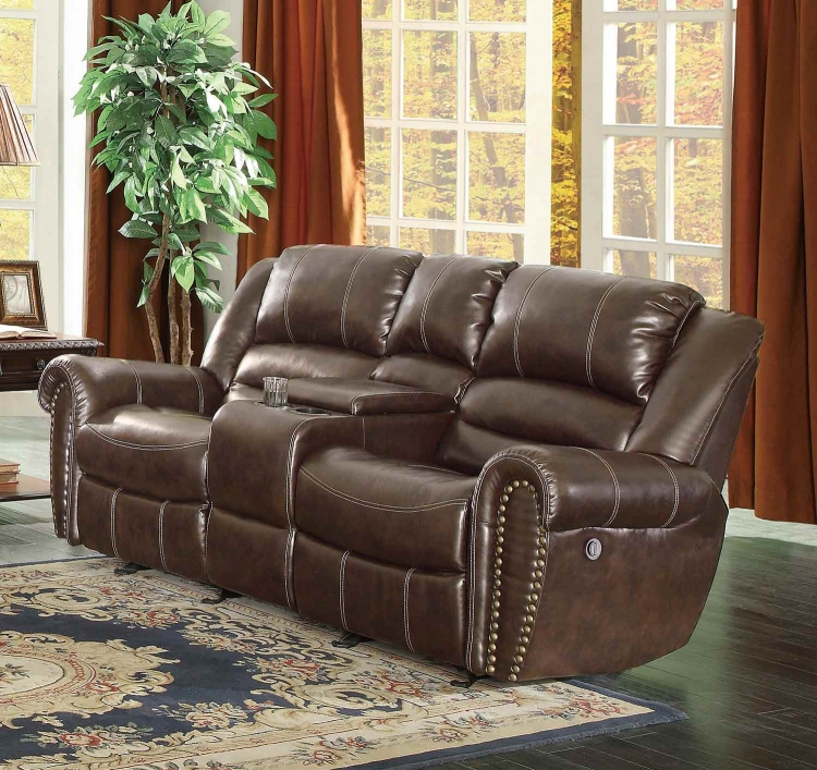Center Hill Power Doubler Reclining Love Seat with Center Console - Dark Brown