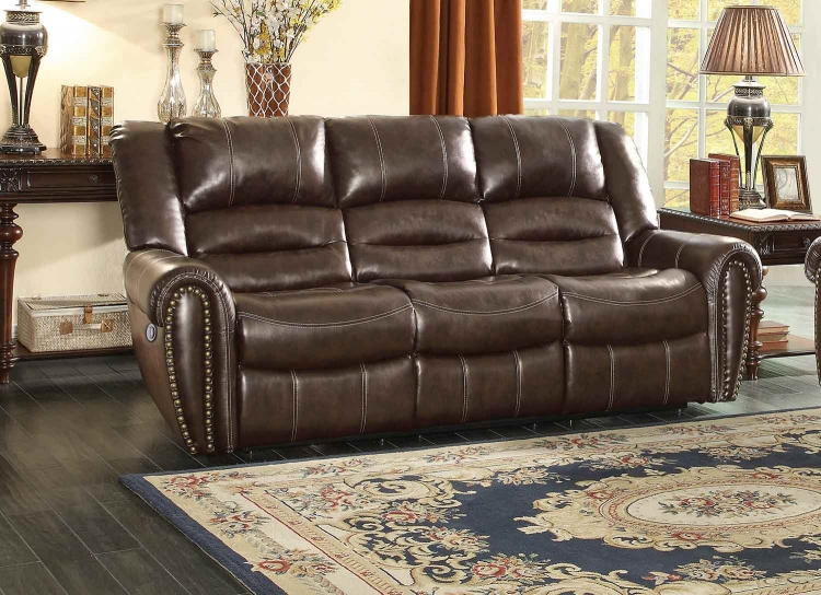 Center Hill Power Double Reclining Sofa - Dark Brown