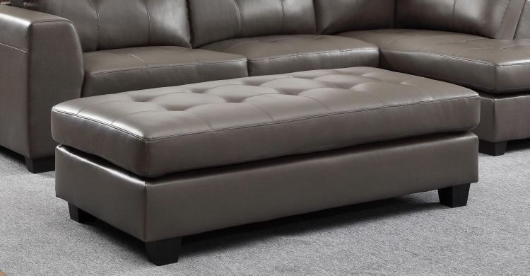 Springer Ottoman - Grey - Bonded Leather Match