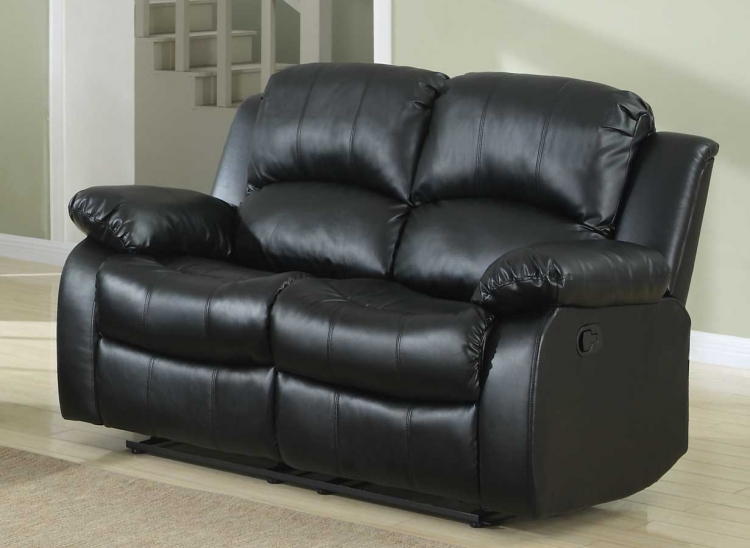Cranley Double Reclining Love Seat - Black Bonded Leather