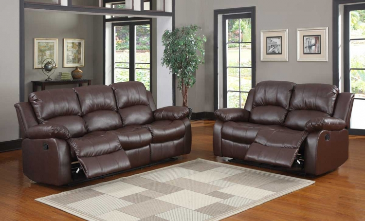 Cranley Reclining Sofa Set - Brown Bonded Leather - Homelegance