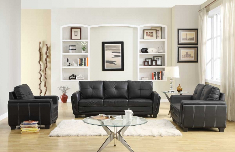 Dwyer Sofa Set - Black Bi-Cast - Homelegance