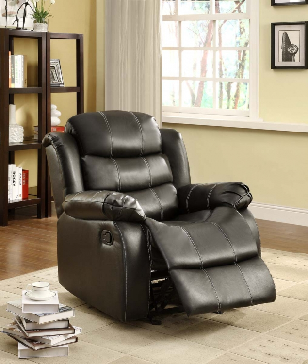 Smithee Chair Glider Recliner - Black - Bonded Leather Match