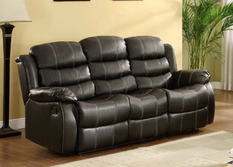 Smithee Sofa Dual Recliner - Black - Bonded Leather Match - Homelegance