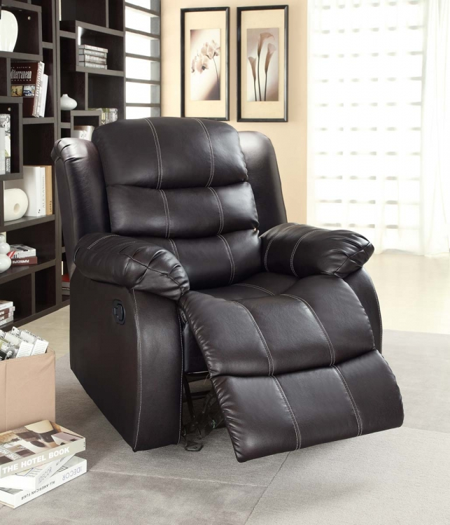 Smithee Chair Glider Recliner - Dark Brown - Bonded Leather Match - Homelegance