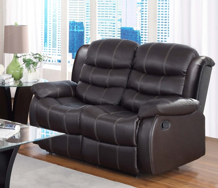 Smithee Love Seat Dual Recliner - Dark Brown - Bonded Leather Match - Homelegance