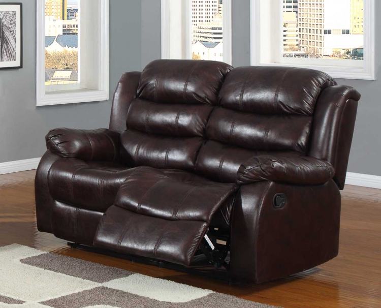 Smithee Double Reclining Love Seat - Burgundy Polished Microfiber