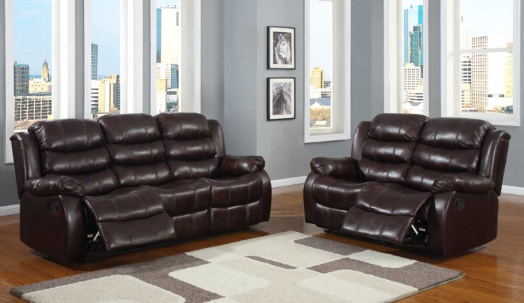 Smithee Reclining Sofa Set - Burgundy Polished Microfiber - Homelegance
