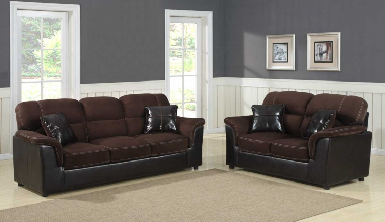 Lombard Sofa Set - Microfiber and Bi-Cast - Homelegance