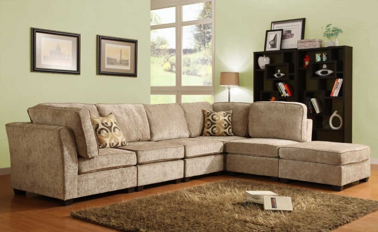 Burke Sectional Sofa Set A - Brown Beige Chenille