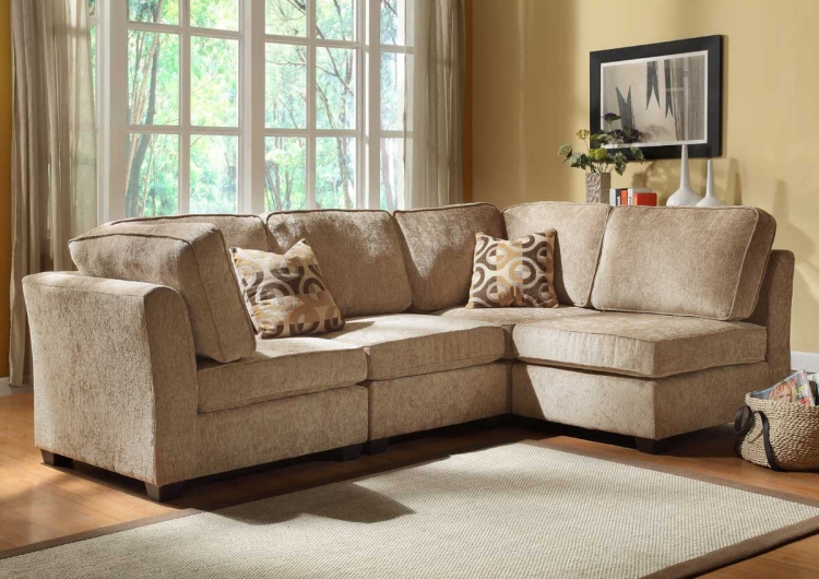 Burke Sectional Sofa Set B - Brown Beige Chenille - Homelegance