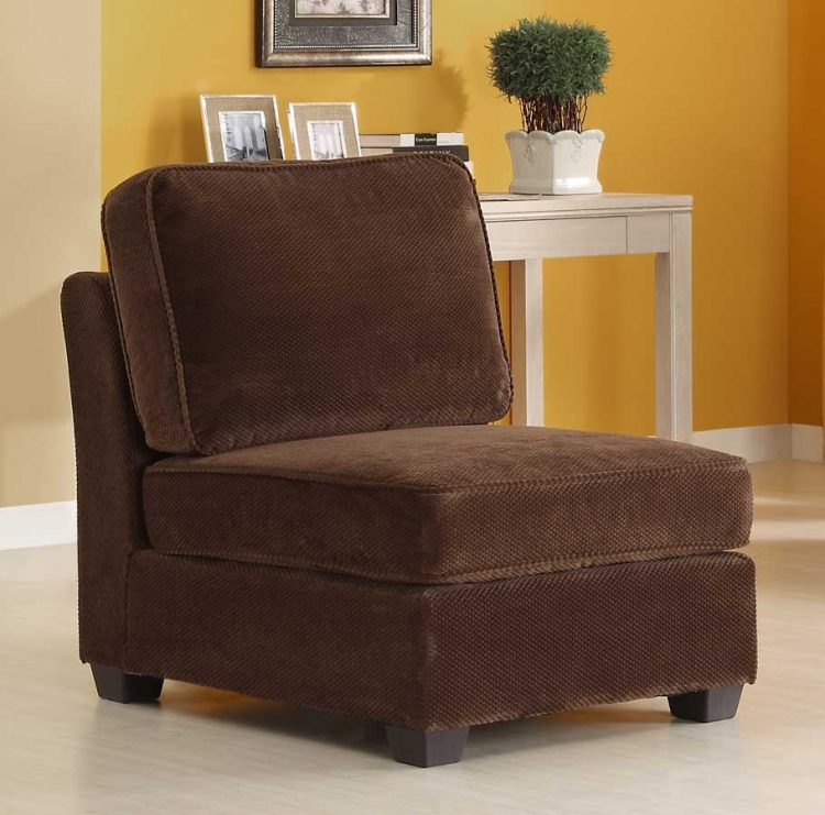 Burke Armless Chair - Dark Brown Fabric - Homelegance