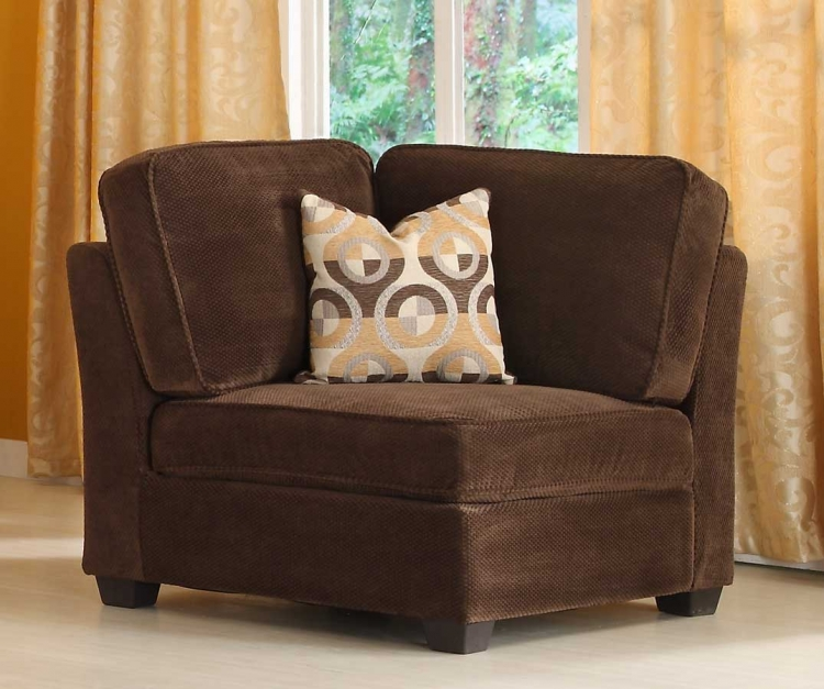 Burke Corner Seat - Dark Brown Fabric