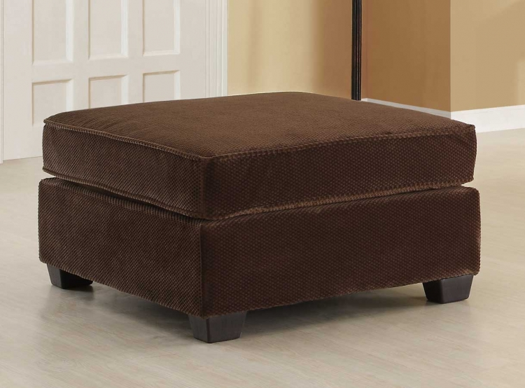 Burke Ottoman - Dark Brown Fabric - Homelegance