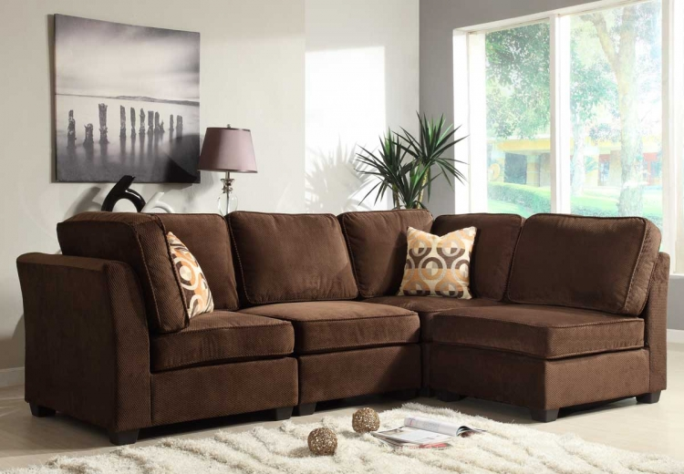Burke Sectional Sofa Set A - Dark Brown Fabric - Homelegance
