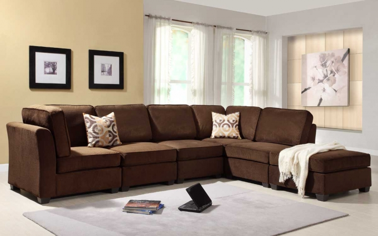 Burke Sectional Sofa Set B - Dark Brown Fabric - Homelegance