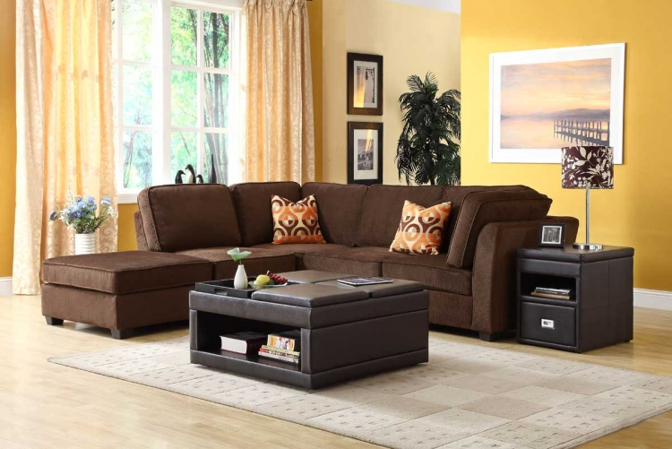 Burke Sectional Sofa Set C - Dark Brown Fabric