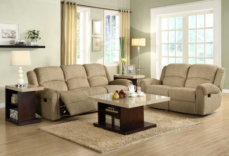 Esther Reclining Sofa Set - Beige Chenille - Homelegance