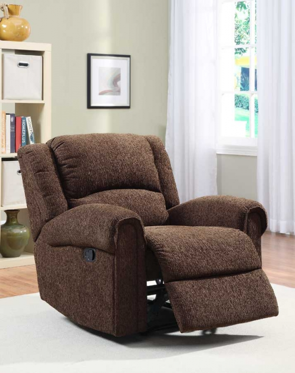 Esther Reclining Chair - Dark Brown Chenille - Homelegance