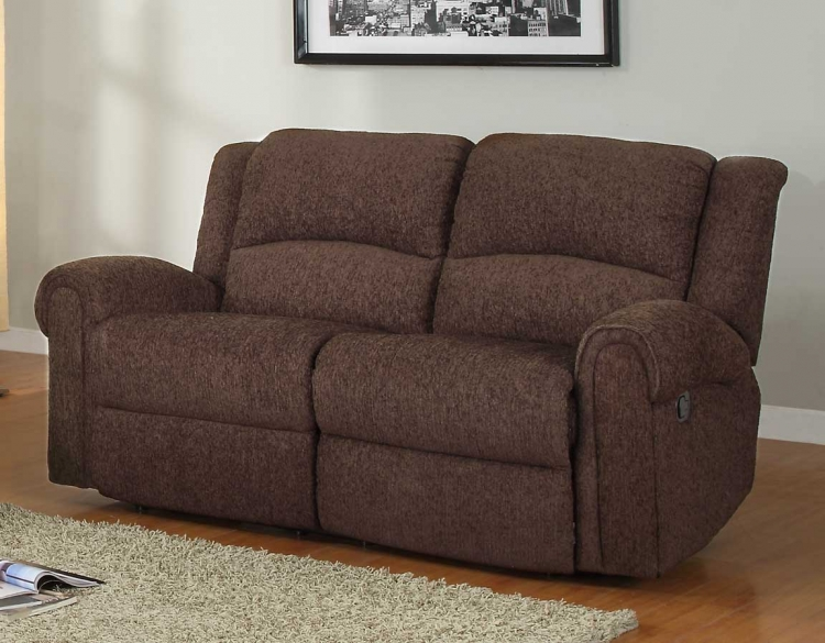 Esther Double Reclining Love Seat - Dark Brown Chenille - Homelegance