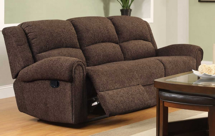 Esther Double Reclining Sofa - Dark Brown Chenille