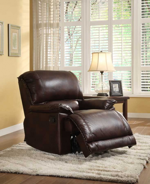 Elsie Reclining Chair - Dark Brown Polished Microfiber - Homelegance