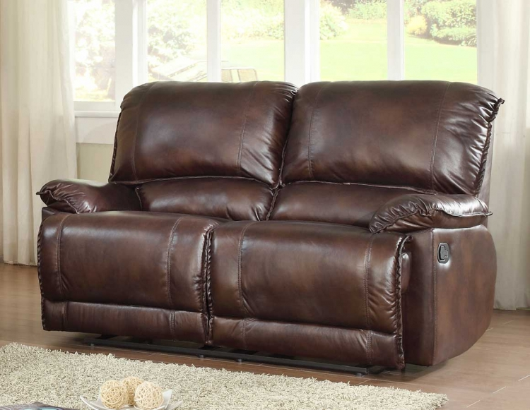 Elsie Double Reclining Love Seat - Dark Brown Polished Microfiber - Homelegance