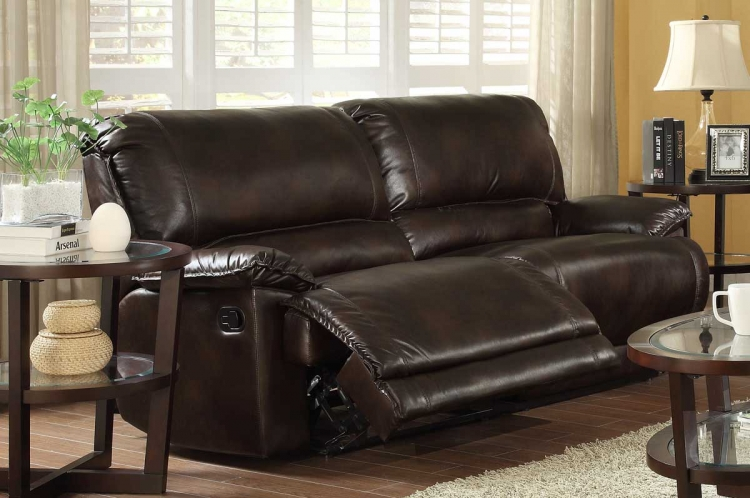 Elsie Double Reclining Sofa - Dark Brown Polished Microfiber - Homelegance
