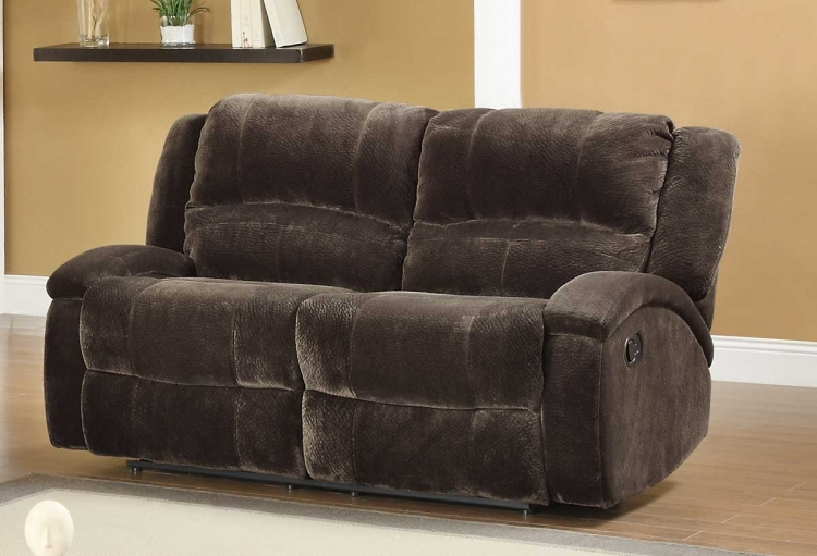 Alejandro Double Glider Reclining Love Seat - Chocolate Textured Microfiber - Homelegance