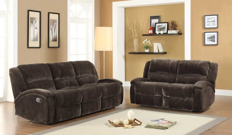 Alejandro Reclining Sofa Set - Chocolate Textured Microfiber - Homelegance
