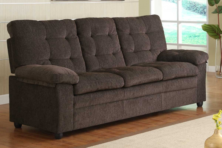 Charley Sofa - Chocolate Chenille - Homelegance