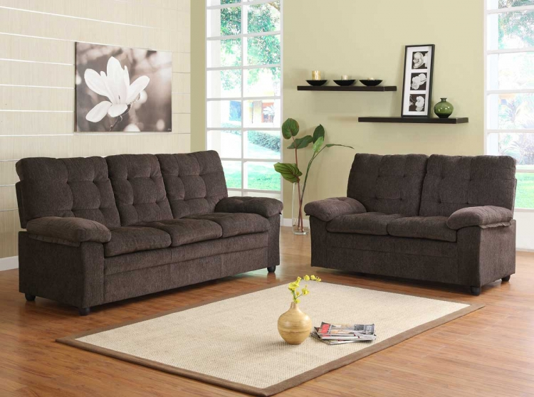 Charley Sofa Set - Chocolate Chenille