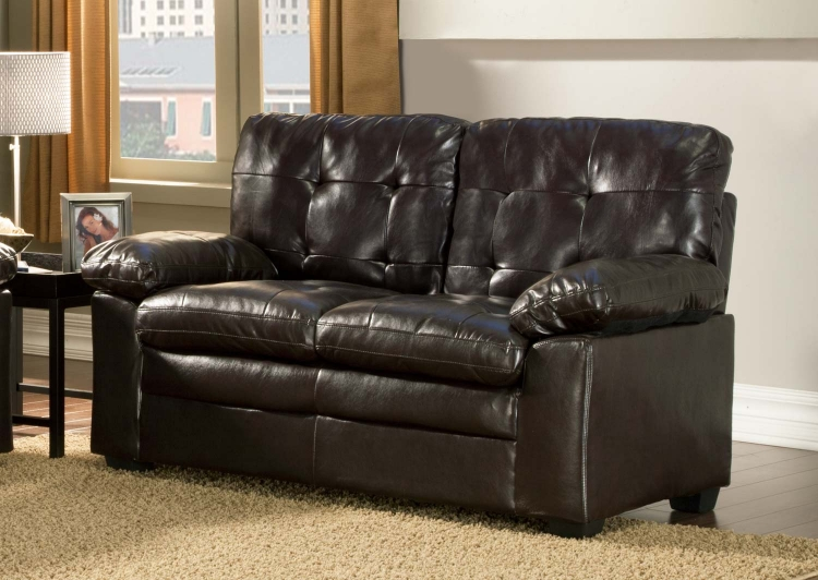 Charley Love Seat - Brown - Bi-Cast Vinyl