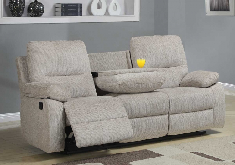 Marianna Double Reclining Sofa with Center Drop-Down Cup Holders - Beige Chenille - Homelegance