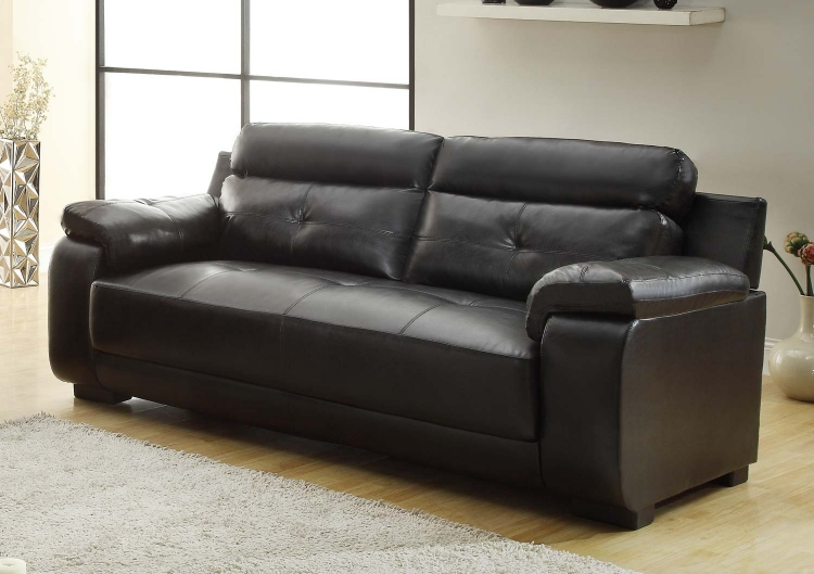 Zane Sofa - Black - All Bonded Leather - Homelegance