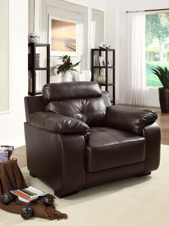 Zane Chair - Dark Brown - All Bonded Leather - Homelegance