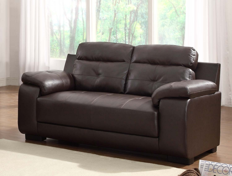 Zane Love Seat - Dark Brown - All Bonded Leather