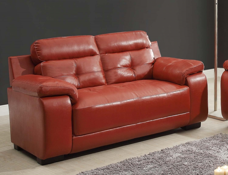 Zane Love Seat - Red - All Bonded Leather