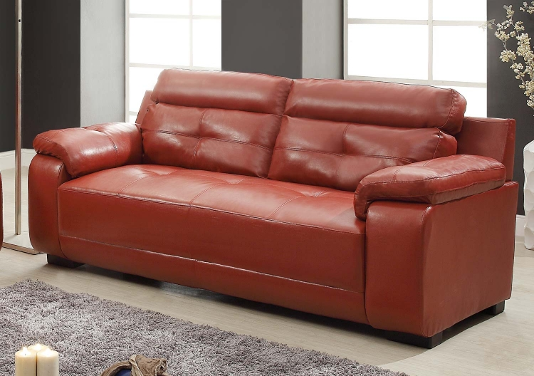 Homelegance Zane Sofa Set Red All Bonded Leather
