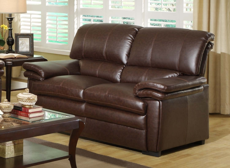 Constance Love Seat - Brown� - Bonded Leather Match