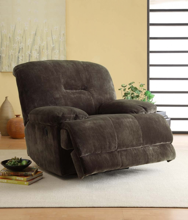 Geoffrey Chair Glider Recliner - Chocolate� - Textured Plush Microfiber - Homelegance