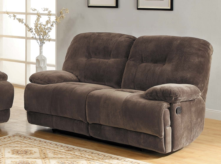 Geoffrey Love Seat Dual Recliner - Chocolate - Textured Plush Microfiber