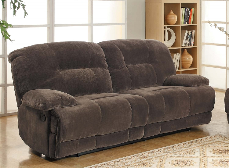 Geoffrey Sofa Dual Recliner - Chocolate� - Textured Plush Microfiber - Homelegance