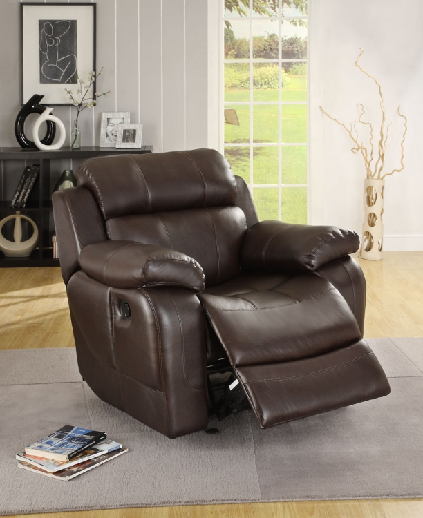 Marille Chair Glider Recliner - Dark Brown - Bonded Leather Match