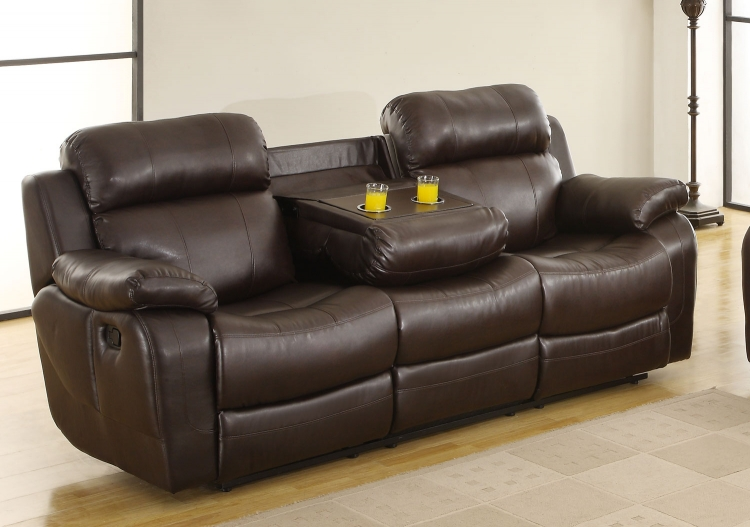 Marille Sofa Recliner with Drop Cup Holder - Dark Brown - Bonded Leather Match