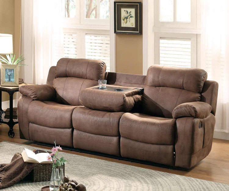 Marille Double Reclining Sofa with Center Drop-Down Cup Holders - Dark Brown